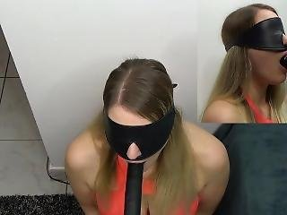 Sexy Bondage Slave With Huge Boobs Gets Face Fucked By Fucking Machine