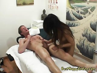 Asian Masseuse Annie Lee Jacks Off Rich Guy Inside The Sauna