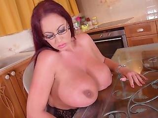 Huge Tits English Stocking Solo