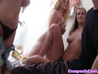 Real College Sluts Share Cock As They Suck It Hard