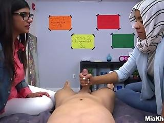 Mia Khalifa Shows Her Friend How To Suck Dick