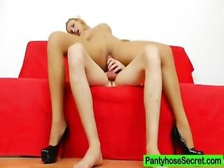 Hardcore Sex In Addition To Blond Haired Covered In Nylons