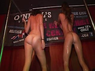 Drunken Sexy College Girls Strip Naked On Stage During A Wet T Shirt Contest
