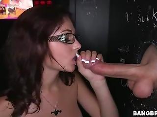Petite Cum Guzzling Brunette Deepthroats 3 Big Dicks