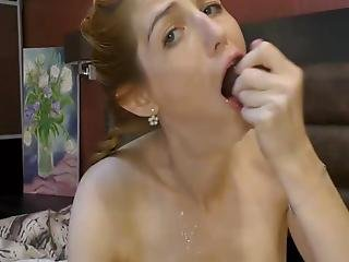 Girl Deep Throats Huge Toy, Messy Spits