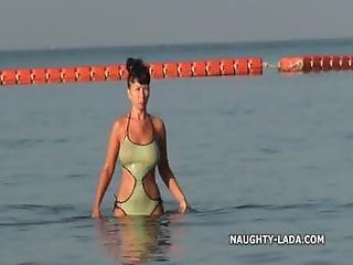 Praia, Mostrar, Ar Livre, Público, Fato De Banho, Molhada