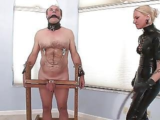 Cbt With Blonde Latex Mistress