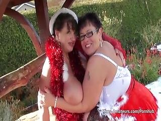 Lesbian Grannies In Santa Outfits With Happy Ending