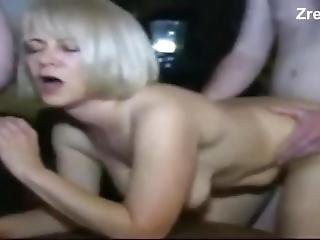 Hot Threesome. Daddy And Boy Fuck Old Sexy Mature Mommy Prostitute In Anal