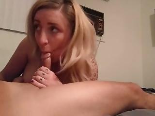 Cute Blondie Swallowing Oral Creampie