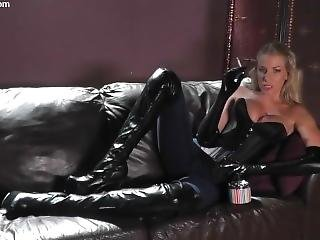 Beautiful Girl Smoking Leather
