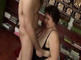 Chubby Busty Granny & Young Cock