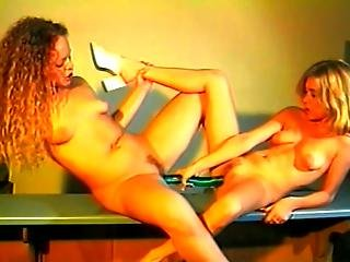 Two Blonde Hotties Fuck At Kitchen Counter