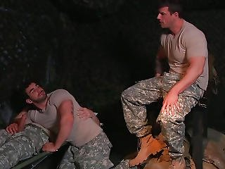 Anal, Blowjob, Gay, Military, Sex, Threesome, Uniform