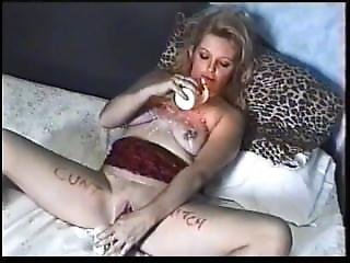 Dirty English Slut Karen Self Torture, Wank And Piss Drinking.