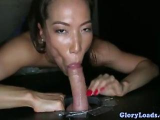 Horny Asian Gloryhole Skank Cum Drenched