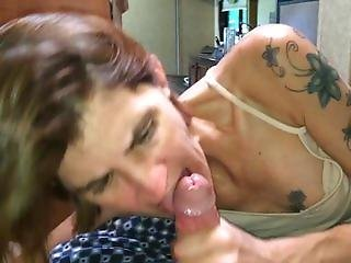 Skinny tattooed wife gets unwanted oral creampie