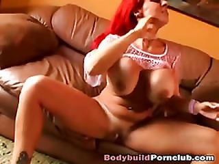 Redhead Cougar With Massive Tits Rides Fat Cock