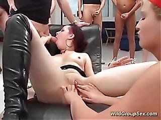 German Teen Bukkake Orgy