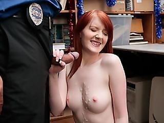 Teen Redhead Thief Kyrstal Fucked And Gets A Facial