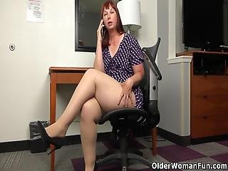 Small Titted And Big Bottomed Bbw Milf Scarlett Has Phone Sex In Tan-colored Pantyhose At The Office Bonus Video: American Milf Pink