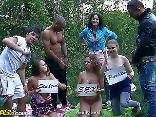 Albina,ava,taylor And Zoe Are On Adventure In A Forests,threatening They Have A Fun Group Sex Feeling Sexy.