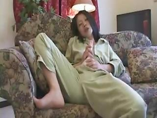 Nasty Japanese Hermaphrodite Jerks Her Hard Futa Dick On The Couch And Shoots A Large Amount Of Cum All Over The Place