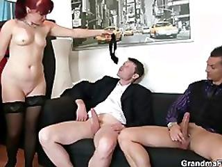Cocksucking mature lady riding cock