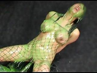 Asian Babe Has New Mess Recipe With Cucumber Snatch And Custard Slime