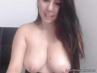 Busty Brunette Sucks Her Own Milk On Webcam