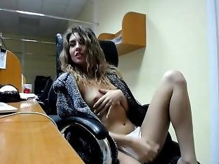 Skinny Girl Plays In The Office