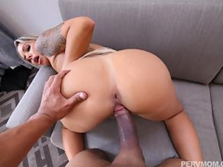 Horny Blonde Cougar Nina Elle Fucked On A Couch