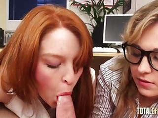Two Bitches Suck Dick In The Office