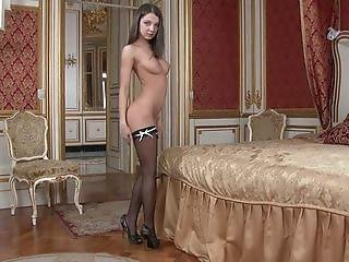 Anal, Brunette, Fetish, Masturbation, Solo, Stocking, Vaginal