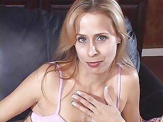 Mature Blonde Slut Licks The Tip Of A Hard Cock