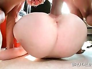 Naked Blonde Takes Huge Cock Deep In