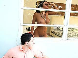 Peeping Tom Ends Up Fucking Her Busty Gf And Her Stepmom