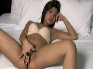 Hot Ladyboy With Feminine Face Jerks Off And Cums Like Crazy