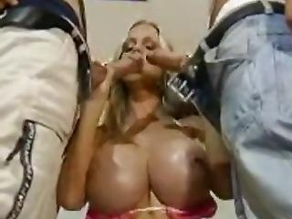 Huge European Fake Boobs With Two Big Cocks