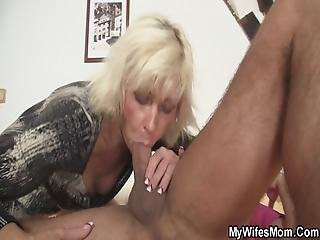 Blonde Mother-in Law Seduces Married Guy