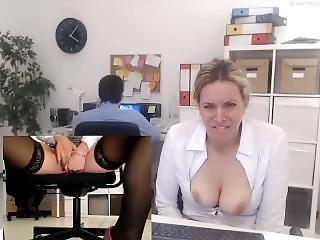 stort bryst, offentlig, sekratær, drilleri, webcam