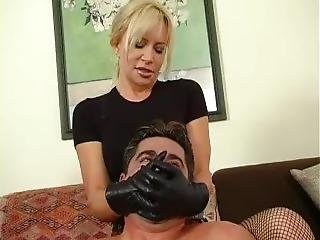 Blonde School Girl Skirt Handsmother Gom Leather Gloves On Mouth Femdom Gal