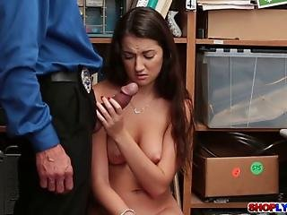 Shoplifting Teen Lily Adams Blackmailed For Sex To Get Her Freedom She Doesnt Want To Go To Jail So She Just Agreed To Have Sex With The Horny Cop Until She Gets A Cum Facial Ending