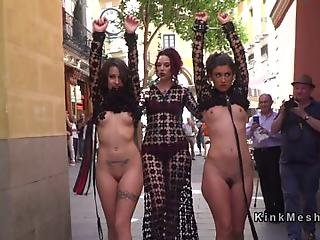 Two Hot Euro Slaves In See Through Dresses Disgraced In Public On The Streets Then In Crowded Bar Cunts And Mouths Banged In Bdsm Orgy
