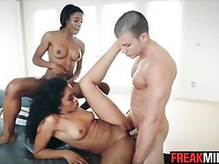 Yasmine De Leon Takes Mya Mays On The Interracial Threesome Ride Of Her Life