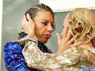 Bukkake Lesbian Pussy Fisted At The Gloryhole