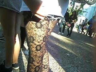 Lace Stockings In Public