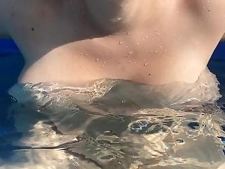 Wife Shakes Her Tits In The Pool Outside (sorry About The Weird Cut)
