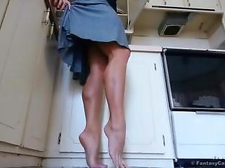 Tan Legs & Calves In Kitchen
