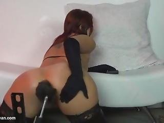 Gloves Black Satin Sophia Sylvan Anal Riding A Fucking Machine.mp4